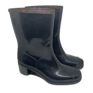 Emilio Pucci Rain Boots Black Heeled Size 40